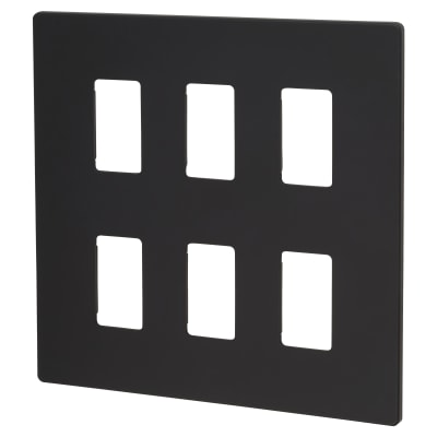 Click Scolmore 6 Gang GridPro Frontplate - Black
