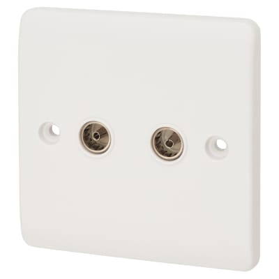 Click Scolmore Coaxial Socket Twin Outlet - White