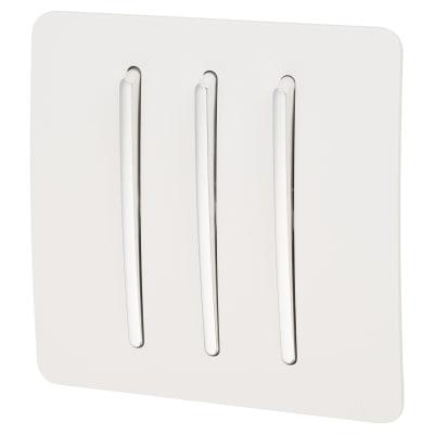 Trendi 10A 3 Gang 2 Way Screwless Switch - White
