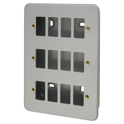 Click Scolmore 12 Gang GridPro Frontplate & Back Box - Grey