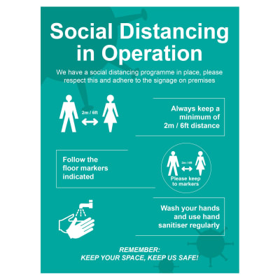 Social Distancing In Operation Signs - 600 x 800mm - Rigid Plastic