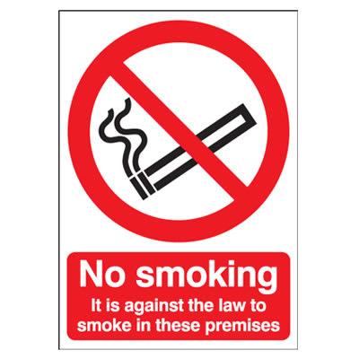 No Smoking It Is Against The Law To Smoke - 210 x 148mm - Rigid Plastic