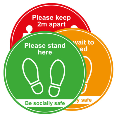 Social Distance Floor Sign - Please Keep 2m Apart - 400mm - Pack of 3
