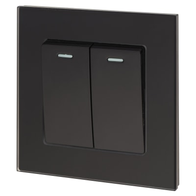 Retrotouch 10A 2 Gang 2 way Switch - Black Plain Glass