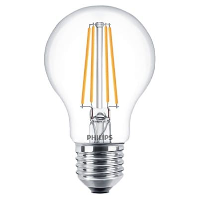 Philips Classic 8W ES LED Dimmable Filament GLS Lamp Clear 2700K - Warm White