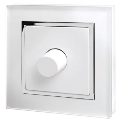 Retrotouch 1 Gang 2 Way Rotary LED Dimmer Switch  - White Glass with Chrome Trim