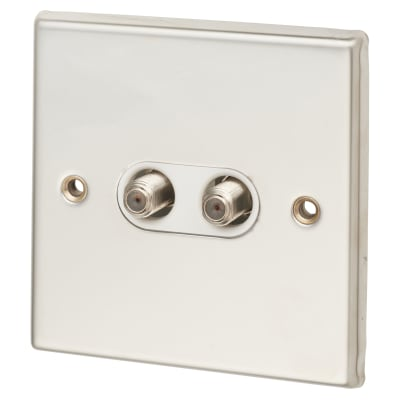 Contactum 2 Gang Satellite Socket - Polished Steel with White Inserts
