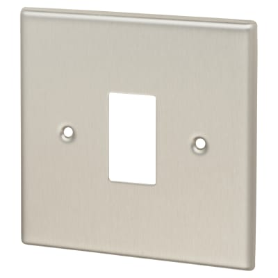 Contactum 1 Gang Cover Plate - Brushed Steel