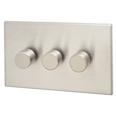 Hamilton Hartland G2 3x100W LED 3 Gang Push On-Off Rotary M-Way Dimmer - Satin Steel