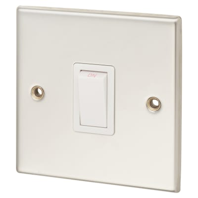 Contactum 20A 1 Gang Double Pole Control Switch - Polished Steel with White Insert