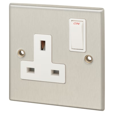 Contactum 13A 1 Gang Double Pole Switched Socket - Brushed Steel with White Insert