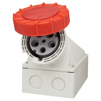 63A 3 Pin, Neutral & Earth Surface Socket - Red