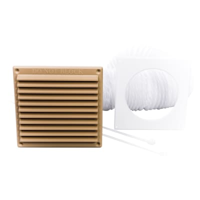 Rytons 100mm Venting Kit with 6 x 6 Louvre Grille (3m L Duct) - Sand