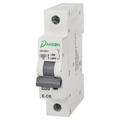 Danson 20A Single Pole 6kA MCB Module - Type D