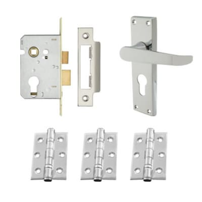 Touchpoint Victorian Handle Door Kit - Euro Lock Set - Polished Chrome