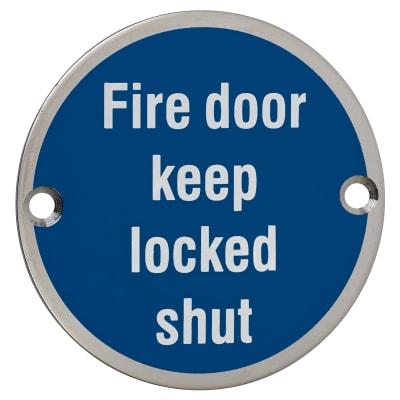Fire Door Keep Locked Shut - 75mm - Polished Stainless Steel