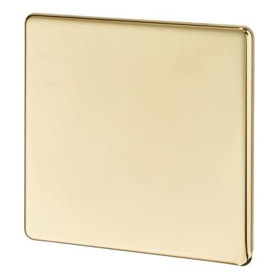 BG 1 Gang Screwless Flatplate Blank Plate - Polished Brass