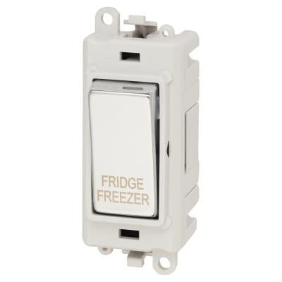Click Scolmore GridPro 20A DP Switch Module - Fridge Freezer - Polished Chrome with White Inserts