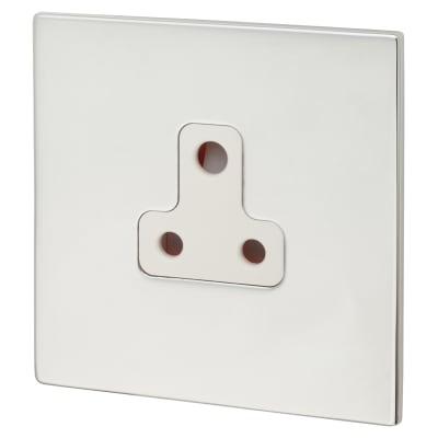 Hamilton Hartland CFX 5A 1 Gang Unswitched Socket - Bright Chrome with White Inserts