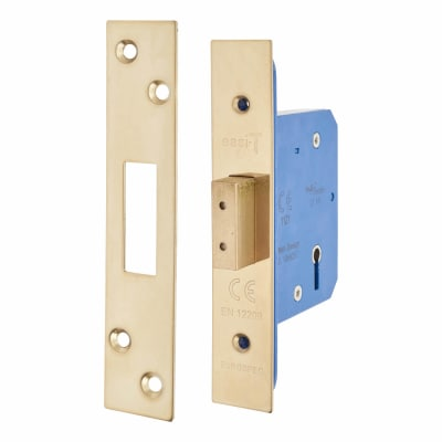 Hampstead Architectural 5 Lever Deadlock - 65mm Case - 44mm Backset - PVD Brass