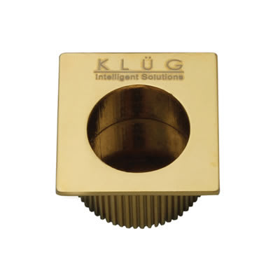 Klug Square Door Edge Finger Flush Pull - 30 x 30mm - PVD Brass