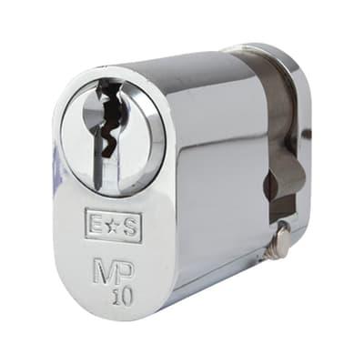 Eurospec Oval Single Cylinder - 10 Pin - 32 + 10mm - Polished Chrome - Keyed Alike