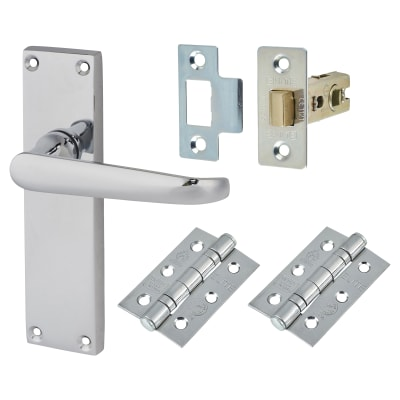 Touchpoint Victorian Door Handle Kit - Long Latch Set - Polished Chrome