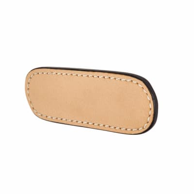 Rounded Leather Cabinet Handle - Plain - Stitched - Natural