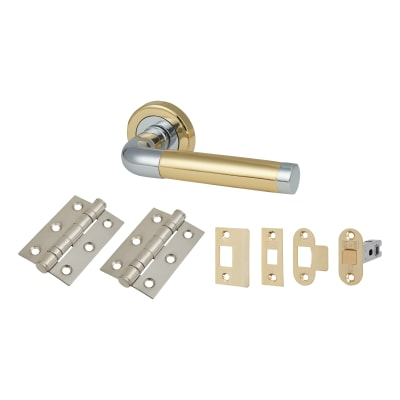 Altro Westminster Lever Door Handle on Rose - Door Kit - Polished Brass/Chrome