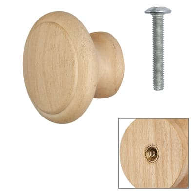 Touchpoint Wooden Cabinet Knob - Raw Maple - with Bolt & Insert - 35mm - Pack 5