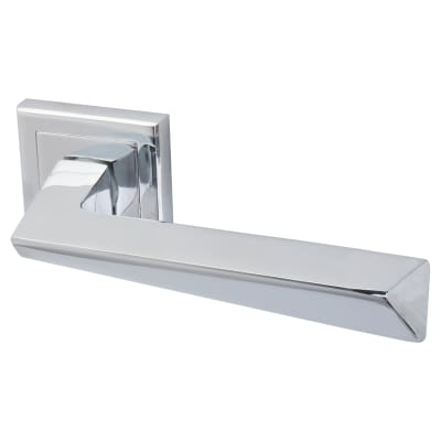 Altro Origin Lever Door Handle on Rose - Polished Chrome