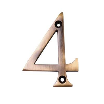 M Marcus 76mm Numeral - 4 - Antique Brass