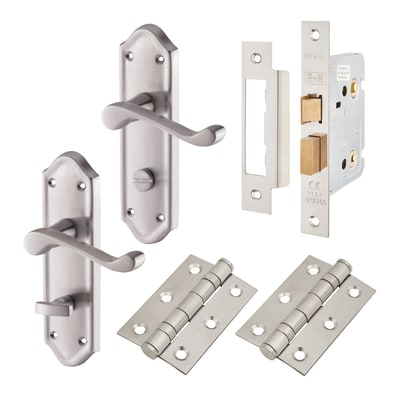 Aglio Ashmead Handle Door Kit - Bathroom Set - Satin Chrome