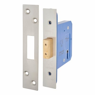A-Spec Architectural 3 Lever Deadlock - 78mm Case - 57mm Backset - Satin Stainless