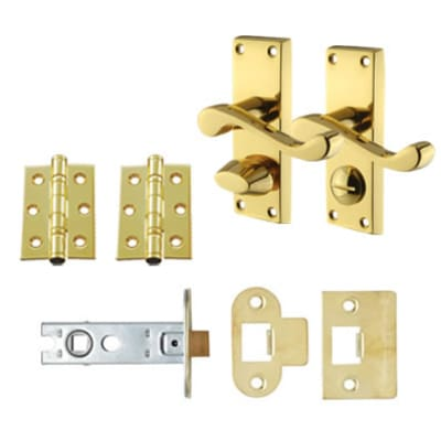 Aglio Victorian Scroll Handle Door Kit - Short Latch Privacy Set - Polished Brass