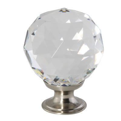 Aglio Cut Glass Cabinet Knob - 40mm - Satin Nickel