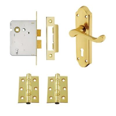 Aglio Ashmead Handle Door Kit - Keyhole Lock Set - Polished Brass