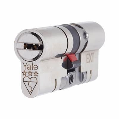 Yale® 3 Star Anti-Snap Platinum Euro Double Cylinder - 100mm Length - 50 + 50mm - Brushed Nicke