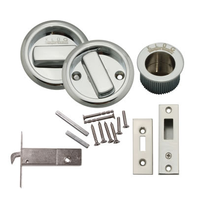 KLÜG Round Flush Handle Set with Latch - Polished Chrome