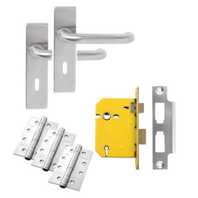 Lever on Backplate Door Kit - 5 Lever Sashlock - Stainless Steel