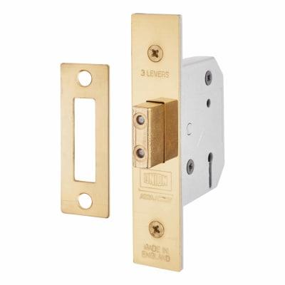 UNION® 2177 3 Lever Deadlock - 65mm Case - 44.5mm Backset - Polished Brass