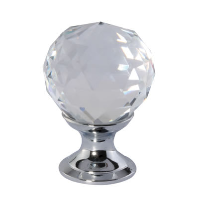 Aglio Cut Glass Cabinet Knob - 25mm - Polished Chrome