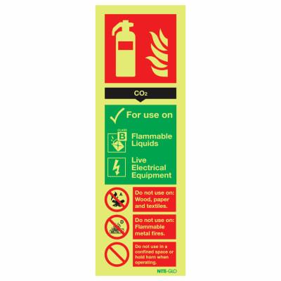 NITE-GLO CO2 Extinguisher - 300 x 100mm