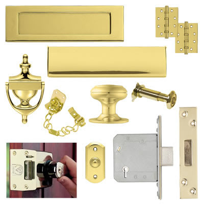 Front Door Furniture Kit - Stainless PVD Brass