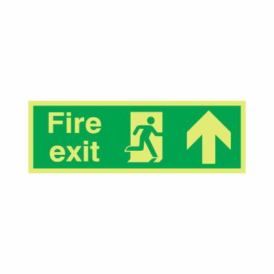 NITE-GLO Fire Exit Running Man - Arrow Up - 150 x 450mm