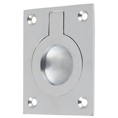Rectangular Flush Ring Pull - 63 x 50mm - Satin Chrome