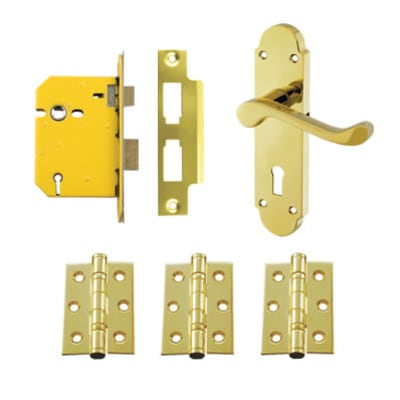 Aglio Victorian Summer Door Kit - Keyhole Lock Set - PVD Brass