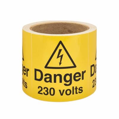 Self Adhesive Vinyl Labels - Danger 230 Volts