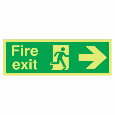 NITE-GLO Fire Exit Right - 150 x 450mm