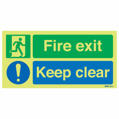 NITE-GLO Fire Exit Keep Clear - 150 x 450mm